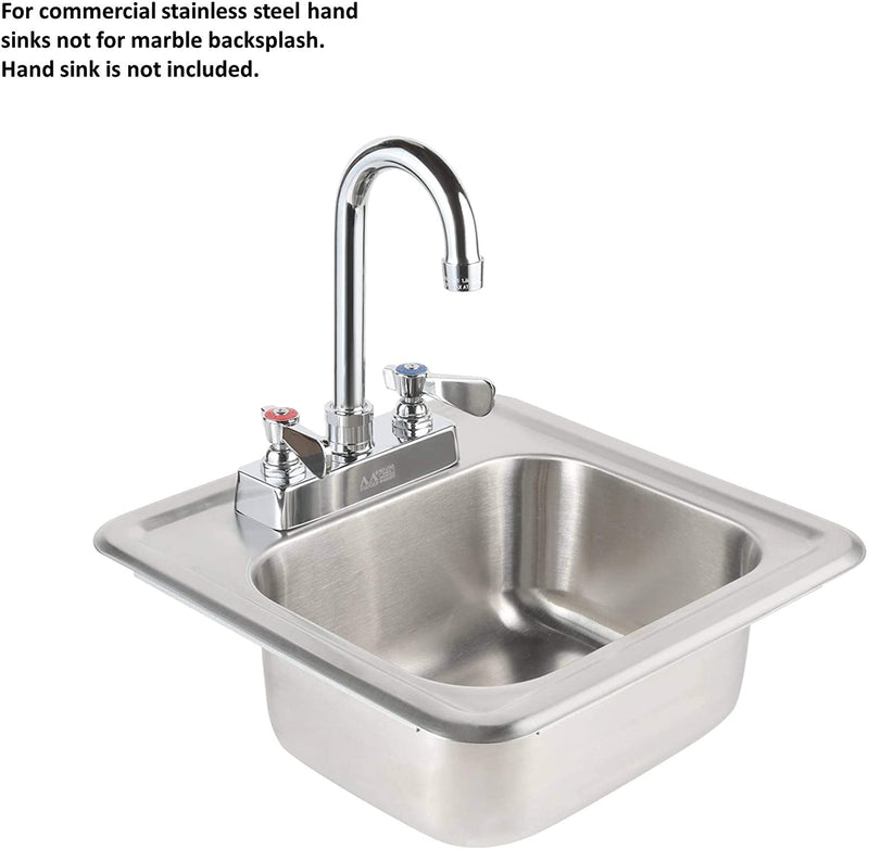 "AA Faucet 4"" Commercial Deck Mount Faucet with Heavy Duty Lead Free Gooseneck 3-1/2"" Spout NSF Certified"