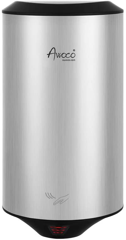 Awoco Round 1350W 120V Stainless Steel Automatic High Speed Commercial Hand Dryer, UL Certified