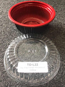 Leyso Set of 300 Black/Red PP Containers Bowls (22 Oz)