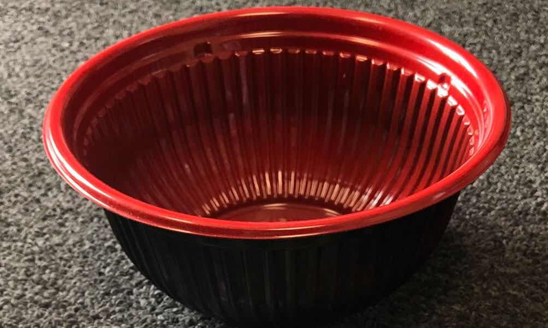 Leyso Set of 300 Black/Red PP Containers Bowls (36 Oz)