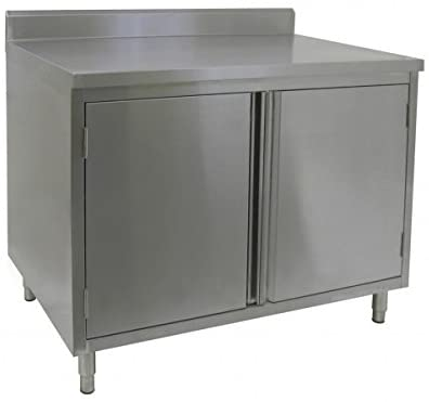"GSW 18 Gauge All Stainless Steel Cabinet 4"" Rear Upturn Work Table w/Hinged Door 24""(W) x 60""(L) x 35""(H)"