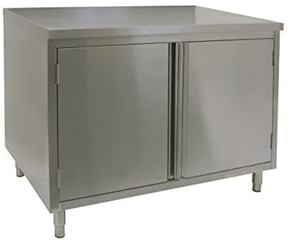 "GSW Stainless Steel Cabinet Enclosed Work Table w/Hinged Door 30""(W) x 60""(L) x 35""(H)"