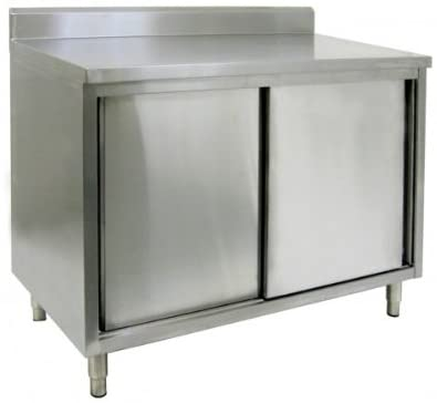 "GSW Stainless Steel Cabinet 4"" Rear Upturn Work Table w/Sliding Door 30""(W) x 36""(L) x 35""(H)"