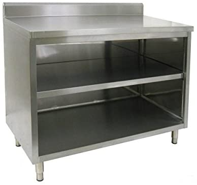 "GSW Stainless Steel 4"" Rear Upturn Enclosed Work Table Cabinet No Door 24""(W) x 36""(L) x 35""(H)"