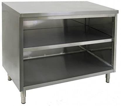 "GSW All Stainless Steel Flat Top Enclosed Work Table Cabinet No Door 30""(W) x 36""(L) x 35""(H)"