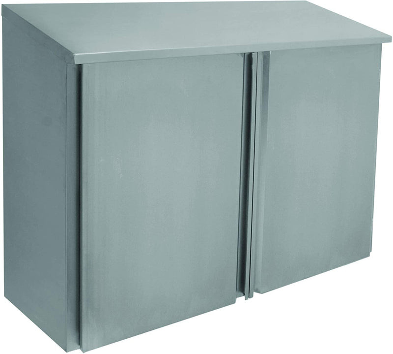 "GSW Stainless Steel Slope Top Wall Cabinet w/Double Hinged Doors 15"" x 48"" x 35"""