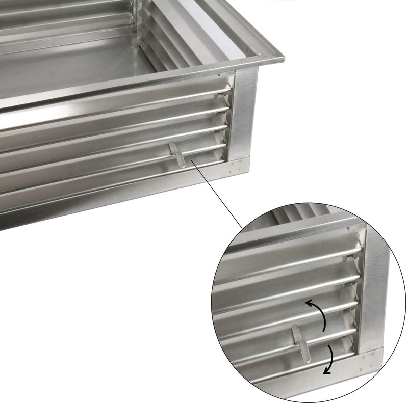 "GSW 20"" Stainless Steel 4-Way Adjustable Air Diffuser for Evaporative Swamp Cooler, 22"" Mounting Edge (20""x20""x6"")"