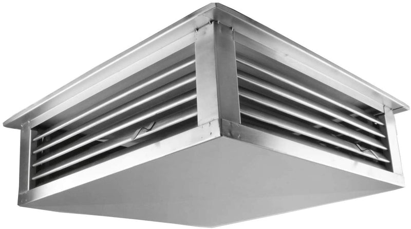 "GSW 14"" Stainless Steel 4-Way Adjustable Air Diffuser for Evaporative Swamp Cooler, 16"" Mounting Edge (14""x14""x6"")"