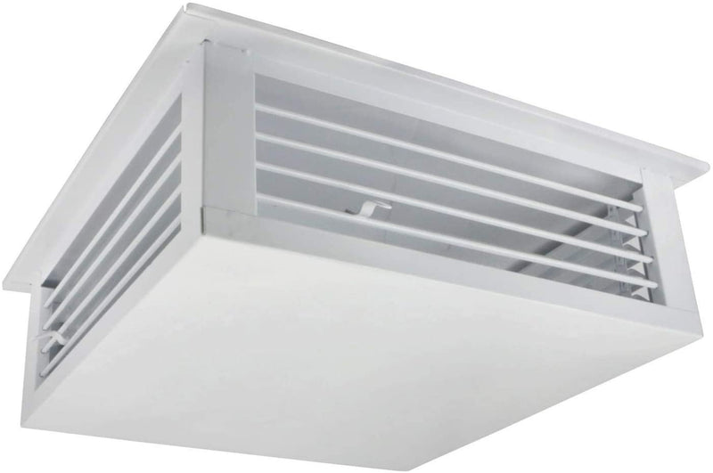"GSW 14"" White Powder Coated 4-Way Adjustable Air Diffuser for Evaporative Swamp Cooler, 16"" Mounting Edge (14""x14""x6"")"