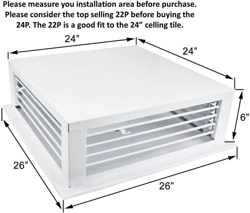 "GSW 24"" White Powder Coated 4-Way Adjustable Air Diffuser for Evaporative Swamp Cooler, 18"" Mounting Edge (24""x24""x6"")"