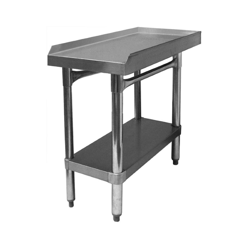 "GSW Commercial Equipment Stand with Stainless Steel Top, 1 Galvanized Undershelf, 1"" Upturn on 3 Sides & Adjustable Bullet Feet, 24""W x 12""L x 24""H, NSF Approved"