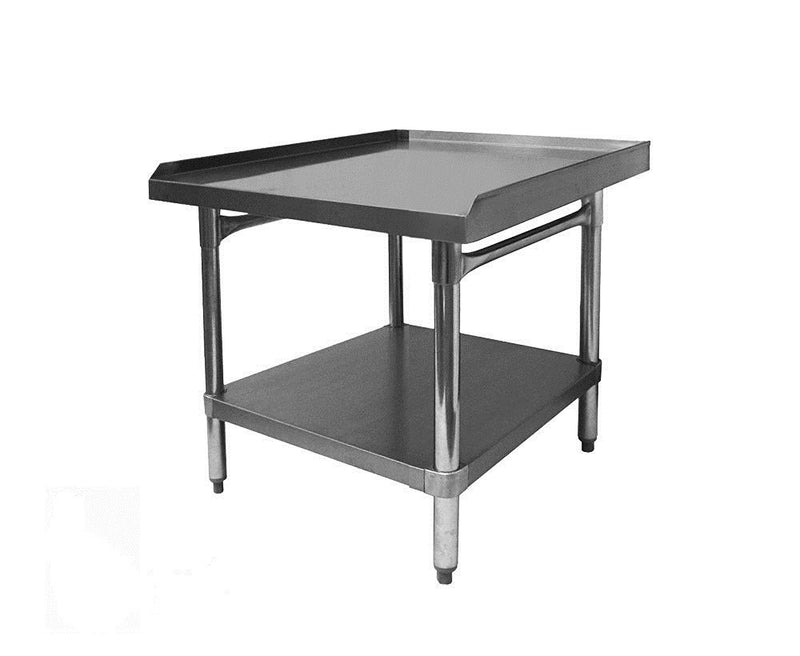 "GSW Commercial Equipment Stand with Stainless Steel Top, 1 Galvanized Undershelf, 1"" Upturn on 3 Sides & Adjustable Bullet Feet, 30""W x 24""L x 24""H, NSF Approved"