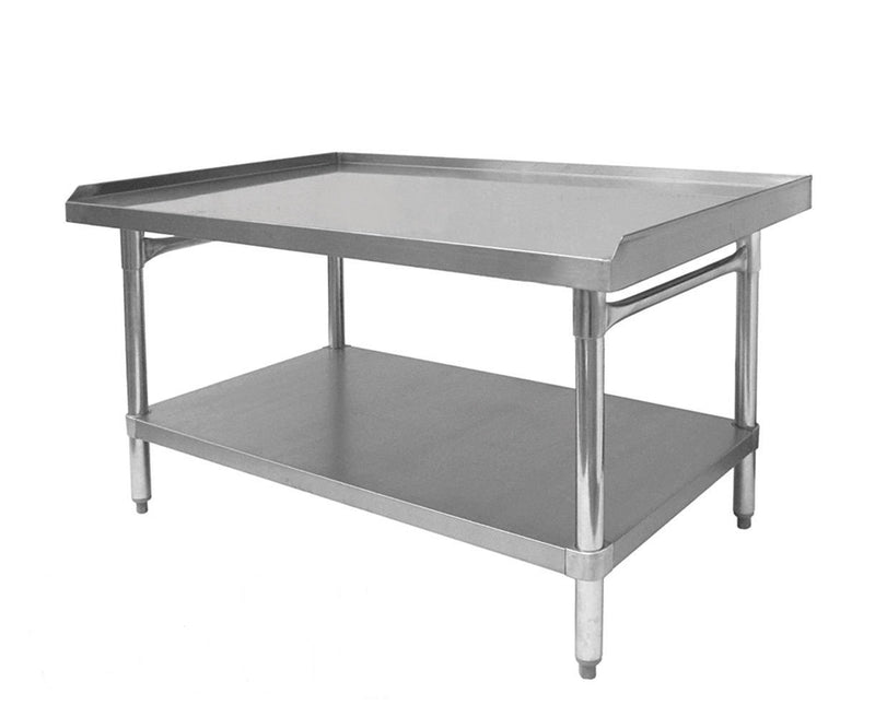"GSW Commercial Equipment Stand with Stainless Steel Top, 1 Galvanized Undershelf, 1"" Upturn on 3 Sides & Adjustable Bullet Feet, 30""W x 36""L x 24""H, NSF Approved"