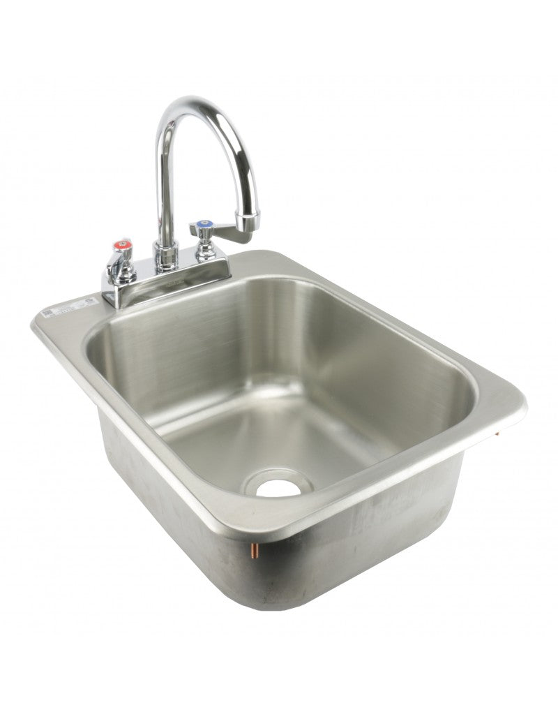 "GSW Medium 13"" x 17.5"" Drop-in Hand Sink with Lead Free 6"" Spout Faucet & Strainer, ETL Certified"