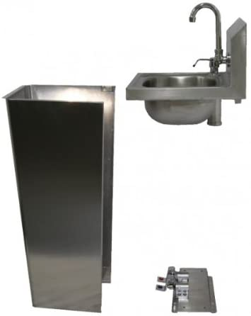 GSW Stainless Steel Hand Sink with Faucet, Foot Operated Valve and Soap Dispenser