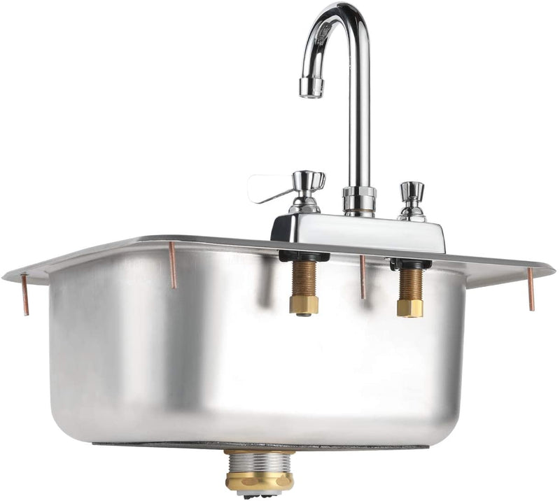 "GSW Standard Size 16"" x 15"" Drop-in Hand Sink with Lead Free 3-1/2"" Spout Faucet & Strainer, ETL Certified"