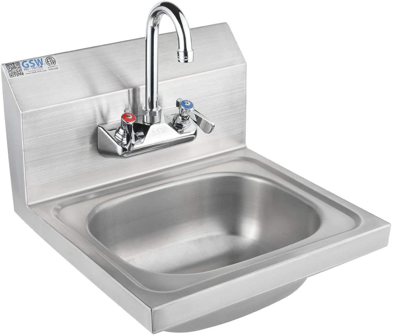 "GSW Stainless Steel Wall Mount Hand Sink with 4"" Gooseneck Faucet and Strainer, ETL Certified"