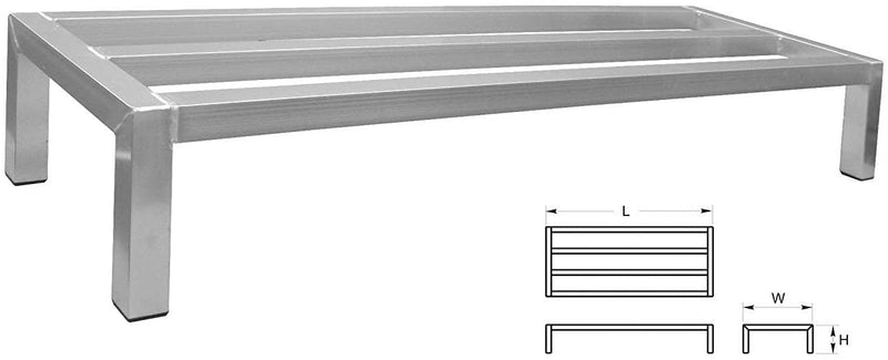 "GSW Equipment 8-Inch High All Welded Aluminum Dunnage Rack with Plastic Feet 14""Width"