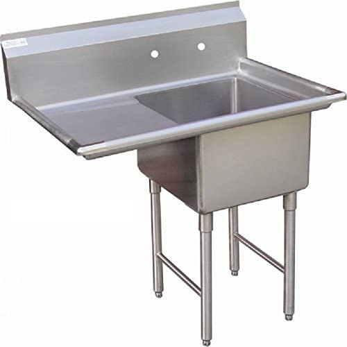 "GSW 1 Compartment Stainless Steel Commercial Food Preparation Sink w/Left Drainboard ETL Certified (15"" x 15"" Sink Only)"