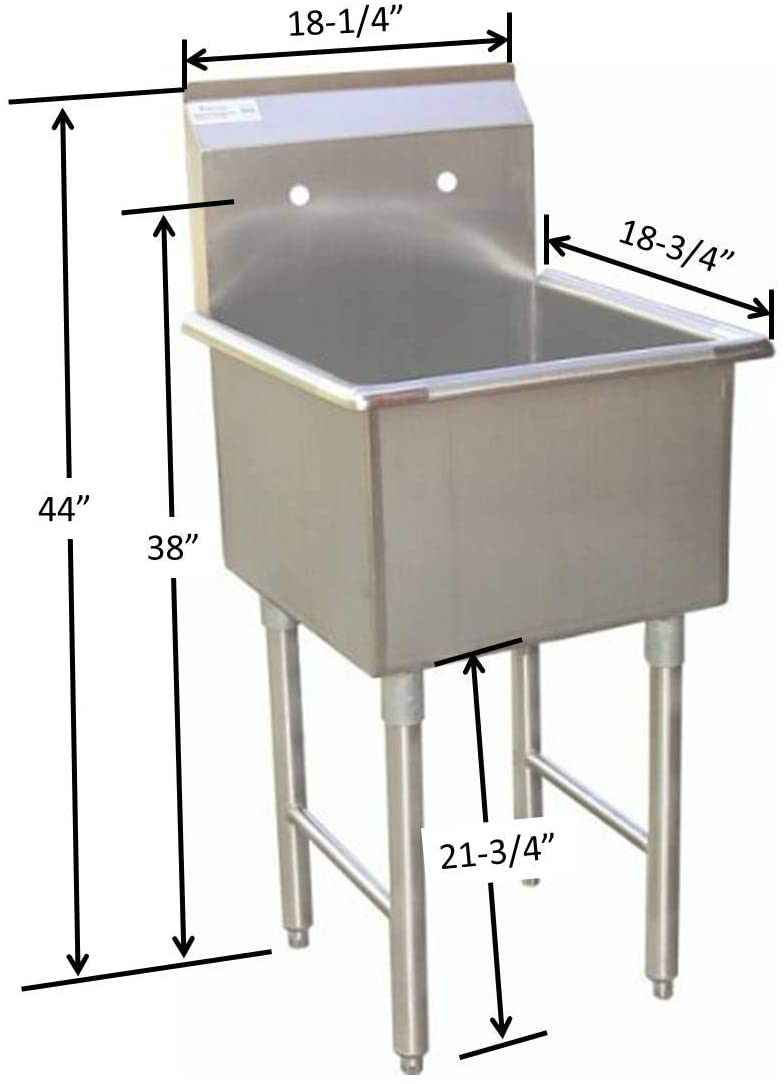 "GSW 1 Compartment Stainless Steel Commercial Food Preparation Sink w/ Crossing Bar on Legs ETL Certified (15""x15"" Tub)"