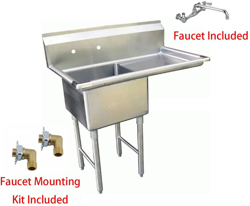 "GSW 1 Compartment Stainless Steel Commercial Food Preparation Sink w/Right Drainboard, Wall Mount No Lead NSF Faucet & Two Faucet Mounting Kits, ETL Certified (18"" x 18"" Sink + Faucet + Kit)"