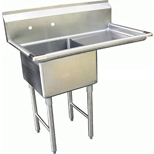 "GSW 1 Compartment Stainless Steel Commercial Food Preparation Sink w/ Right Drainboard ETL Certified (18"" x 18"" Sink Only)"