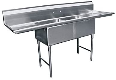 "GSW 2-Compartment Stainless Steel Commercial Food Preparation Sink w/ Left & Right Drainboards ETL Certified (20"" x 24"" Sink Only)"