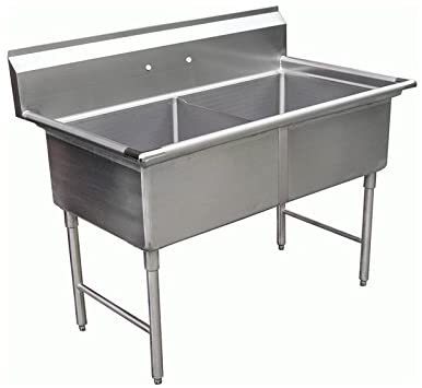 "GSW 2 Compartments Stainless Steel Commercial Food Preparation Sink w/ 1"" Adjustable Bullet Feet ETL Certified (24"" x 24"" Sink Only)"