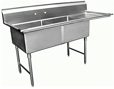 "GSW 2-Compartment Stainless Steel Commercial Food Preparation Sink w/ Right Drainboard ETL Certified (24"" x 24"" Sink Only)"