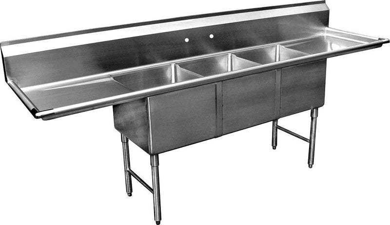 "GSW 3 Compartment Stainless Steel Sink 20"" x 28""x 14""D W/ 15"" Left and Right Drainboards NSF Approved"