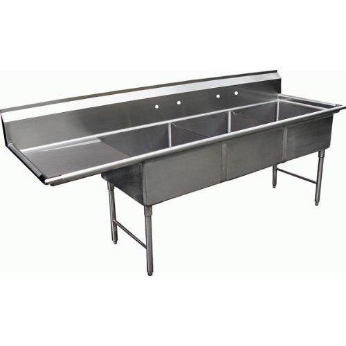 "GSW 3 Compartment Stainless Steel Sink 15"" x 15""x 12""D W/ 15"" Left Drainboard NSF Approved"