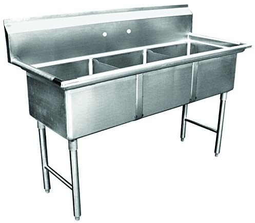 "GSW 3-Compartment Stainless Steel Commercial Food Preparation Sink w/ 1"" Adjustable Bullet Feet ETL Certified (15"" x 15"" Sink Only)"