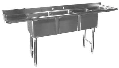 "GSW Economy 3 Compartment Stainless Steel Mini Sink with Left & Right Drainboards, 14"" BW x 10"" BL x 10"" BD"