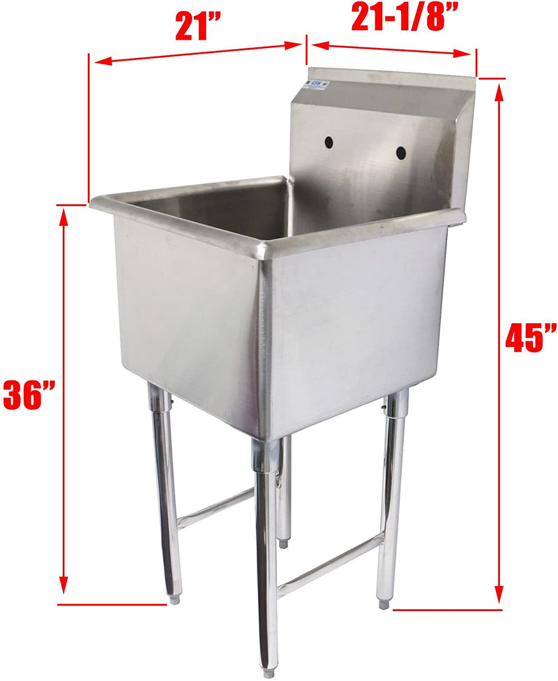 "GSW 1 Compartment Stainless Steel Commercial Food Preparation Sink ETL Certified (18""x18"" Sink Only)"