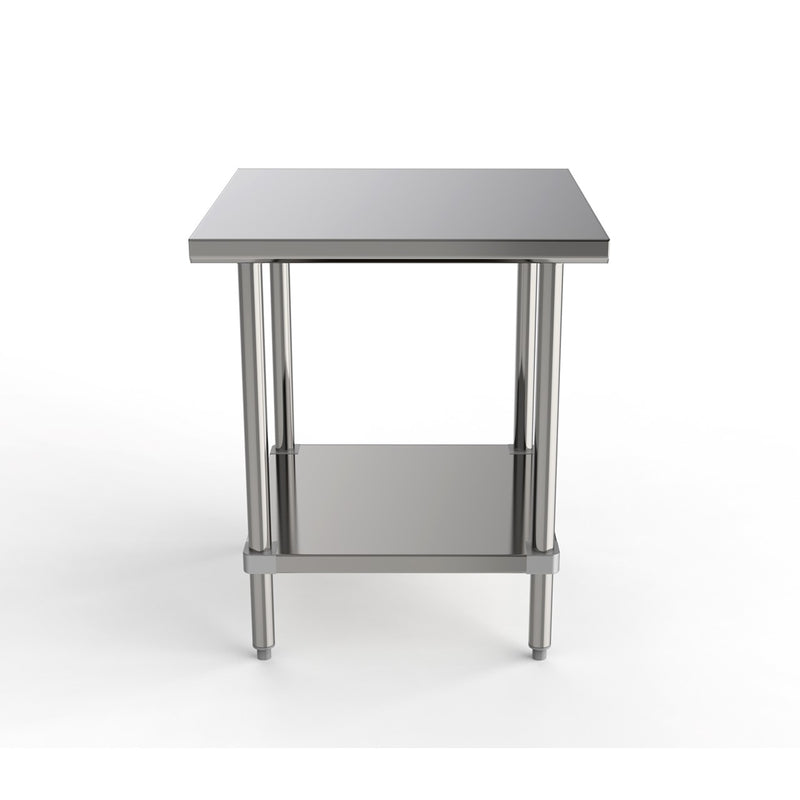 "GSW Commercial Grade Flat Top Work Table with All Stainless Steel Top, Undershelf & Legs, Adjustable Bullet Feet, NSF/ETL Approved to Meet Sanitation Food Service Standard 37 (24""D x 30""L x 35""H)"