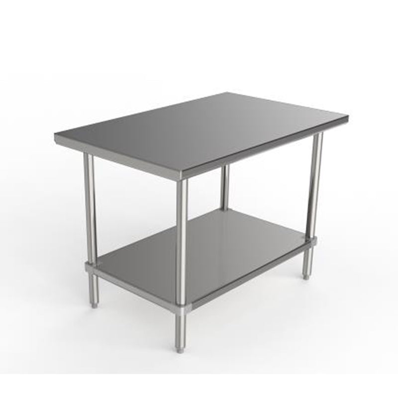 "GSW Commercial Grade Flat Top Work Table with All Stainless Steel Top, Undershelf & Legs, Adjustable Bullet Feet, NSF/ETL Approved to Meet Sanitation Food Service Standard 37 (24""D x 36""L x 35""H)"