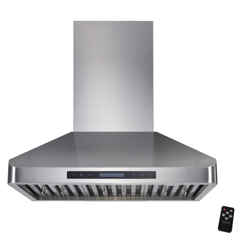"Awoco RH-WT-30XL 63""H Stainless Steel Range Hood 4 Speeds, 6"" Round Top Vent 900CFM 2 LED Lights & Remote Control (30"" Wall Mount XL)"