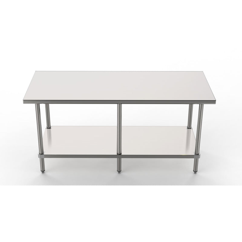 "GSW Commercial Grade Flat Top Work Table with Stainless Steel Top, Galvanized Undershelf & Legs, Adjustable Bullet Feet, NSF/ETL Approved to Meet Sanitation Food Service Standard 37 (30""W x 84""L x 35""H)"