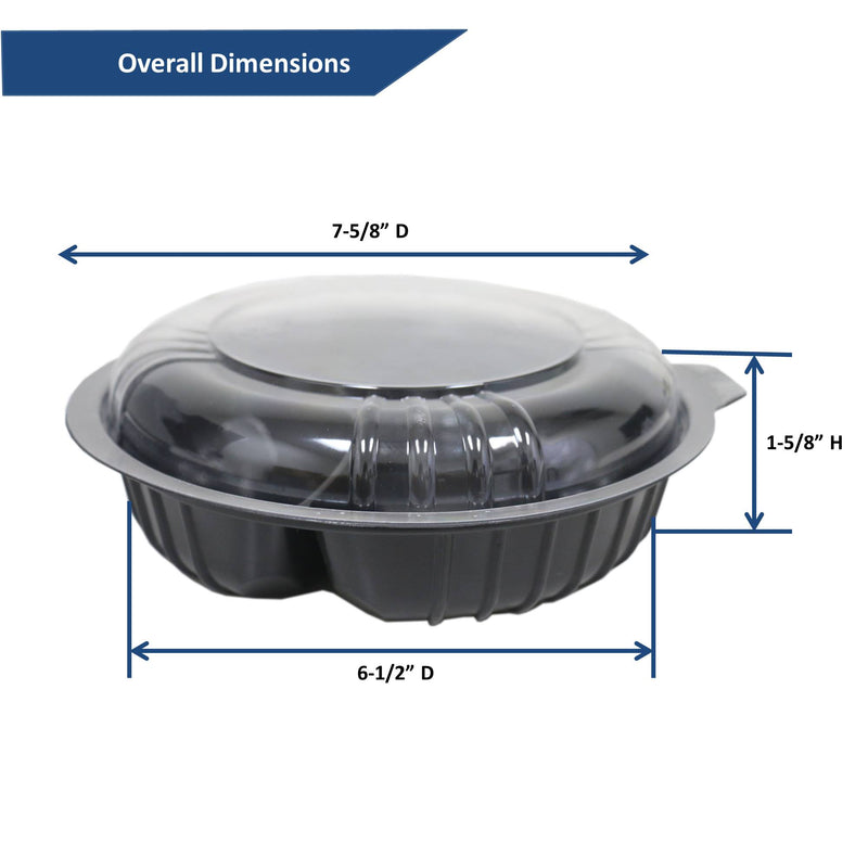 Leyso TO-B Set of 200 Black Base 2 compartment Microwavable Food Containers with Lids (24 Oz)