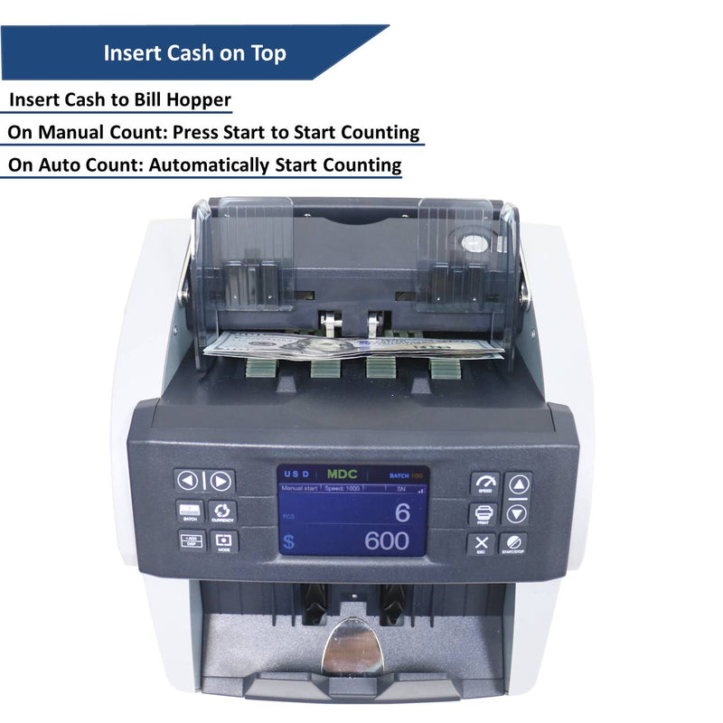 Awoco Bank Grade Mixed Denomination Bill Money Counter with Full Counterfeit Detection - 6 Currency (USD, EUR, GBP, MXN, CAD, CNY) with External Display