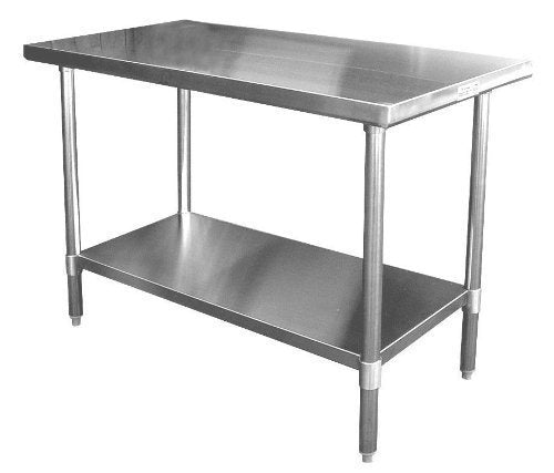"GSW Commercial Grade Flat Top Work Table with Stainless Steel Top, Galvanized Standard Undershelf & Legs NSF Approved- 48""L x 30""W"