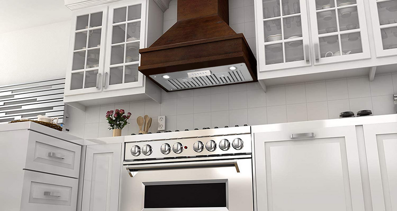 "Awoco RH-IT06-30 Super Quiet Split Insert Stainless Steel Range Hood, 4-Speed, 800 CFM, LED Lights, Baffle Filters with 6"" Blower (30""W 6"" Vent)"