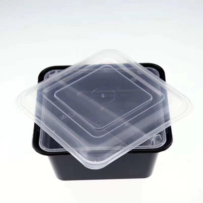 Leyso TO-MST39B Black 1 Compartment With 2 Compartment Insert PP Square Containers with Lids (39 Oz)