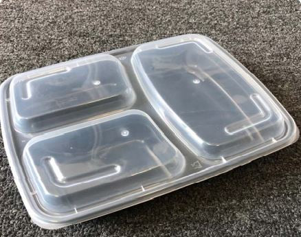 Leyso TO-NL333A Black 3 Compartment PP Rectangular Containers with Lids (33 Oz)