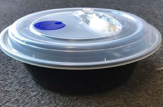 Leyso TO-NR-2 Heavy Duty PP Round Containers with Vented Lid and Spork (150 Count)