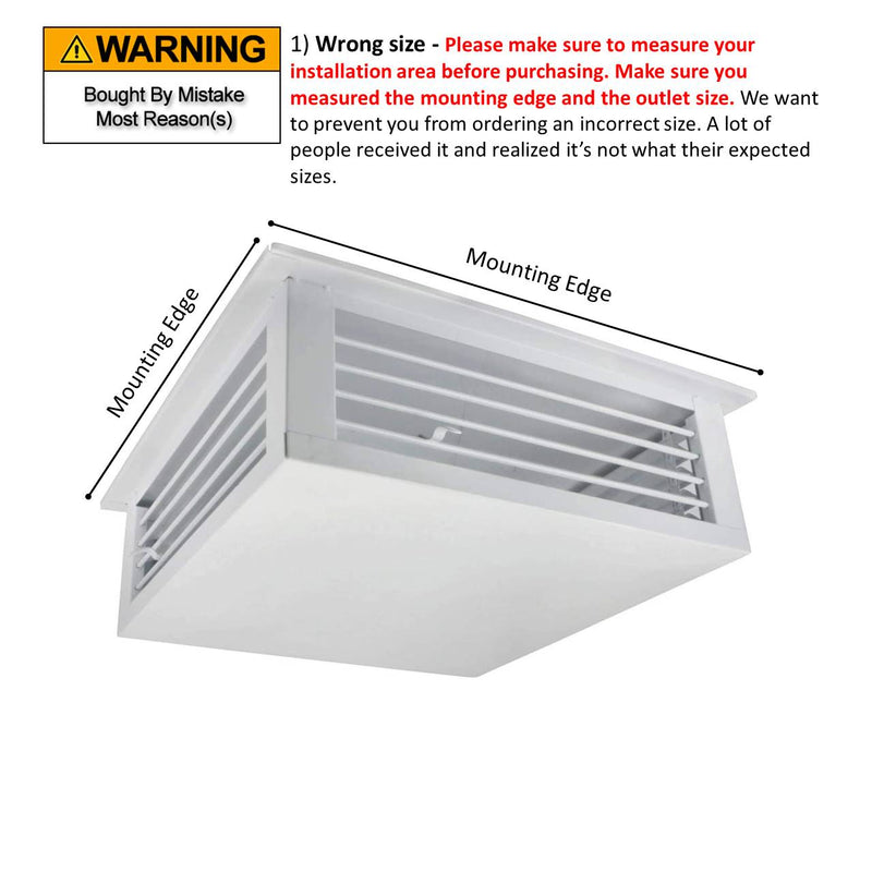 "GSW 16"" White Powder Coated 4-Way Adjustable Air Diffuser for Evaporative Swamp Cooler, 18"" Mounting Edge (16""x16""x6"")"