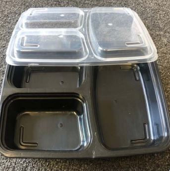Leyso TO-RF338 American Style Black 3 Compartment PP Rectangle Containers with Lid (38 Oz)