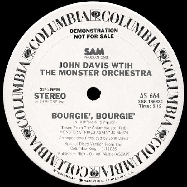John Davis With The Monster Orchestra ‎– Bourgie', Bourgie' 12