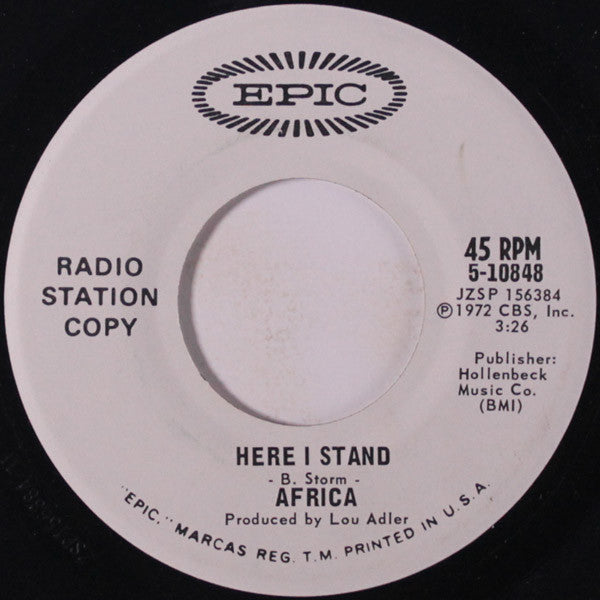Africa ‎– Here I Stand / Widow