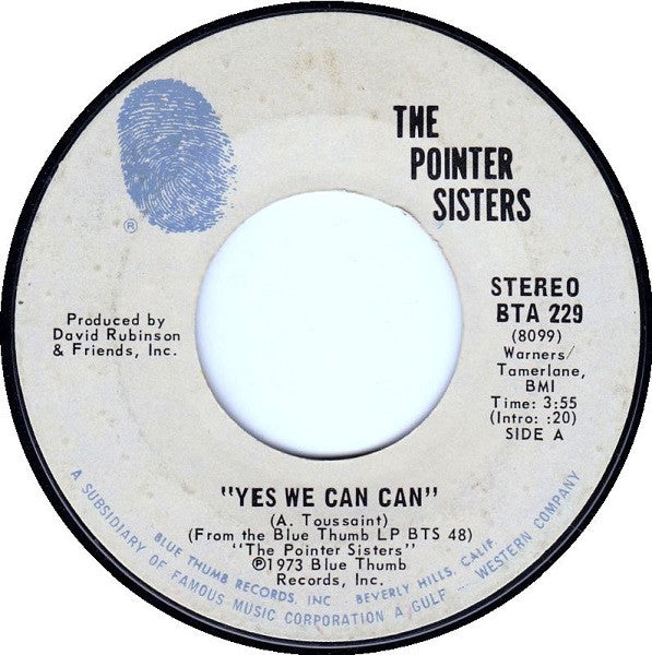 The Pointer Sisters ‎– Yes We Can Can / Jada